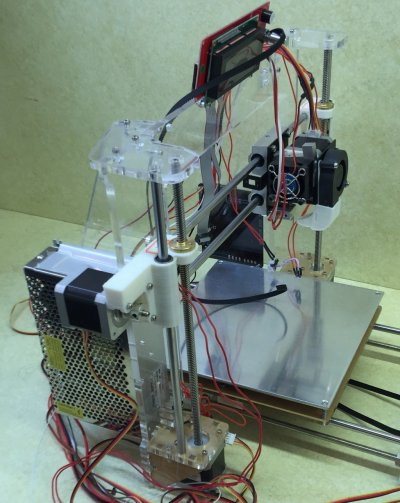 The rear of a partially assembled RepRap 3D printer