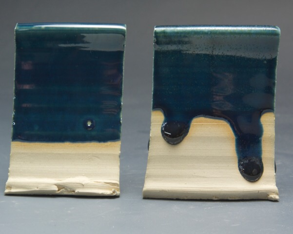 Glazes of the same chemistry: The fritted one melts better