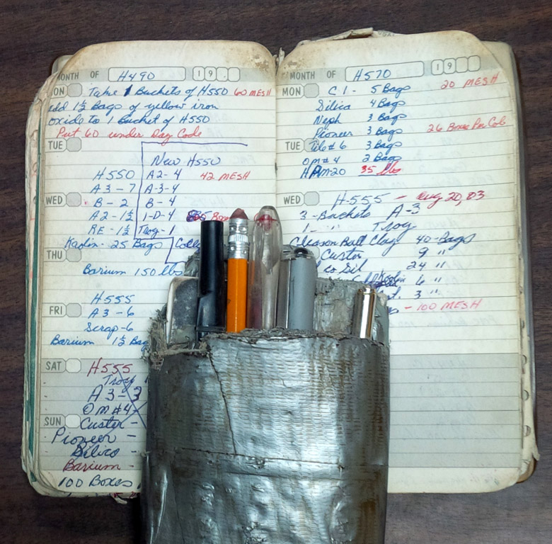 An example of a production log book that a ceramic industry worker keeps