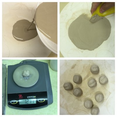 The process of dewatering a glaze slurry and making balls