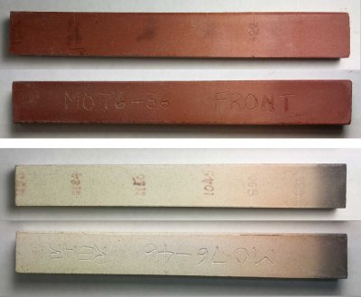 Gradient bars show the degree of vitrification of a clay