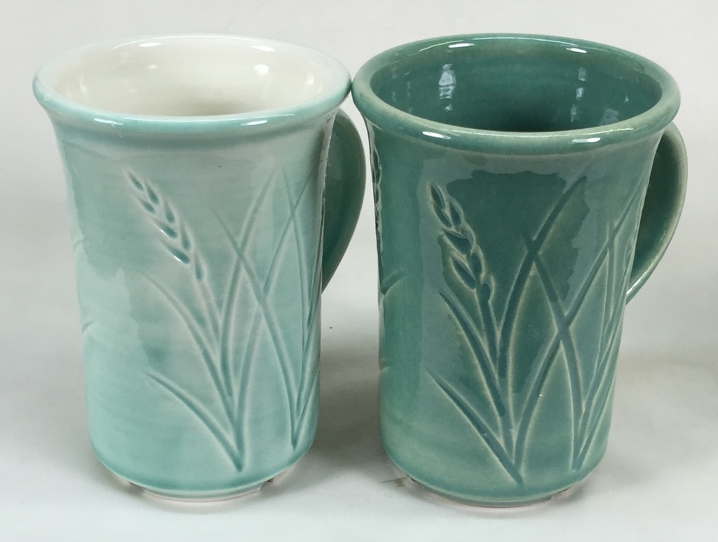 Why is this glaze so different on these two different porcelains?