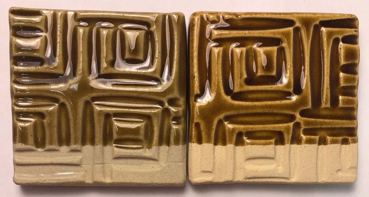 Two glazed tiles, showing Alberta Slip mixed 80:20 with two different frits