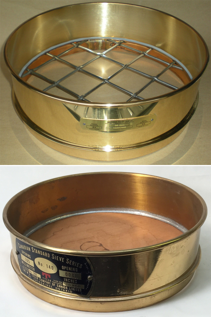 Two example of high quality brass laboratory sieves
