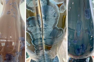 Three cracked crystal glazes porcelain vases
