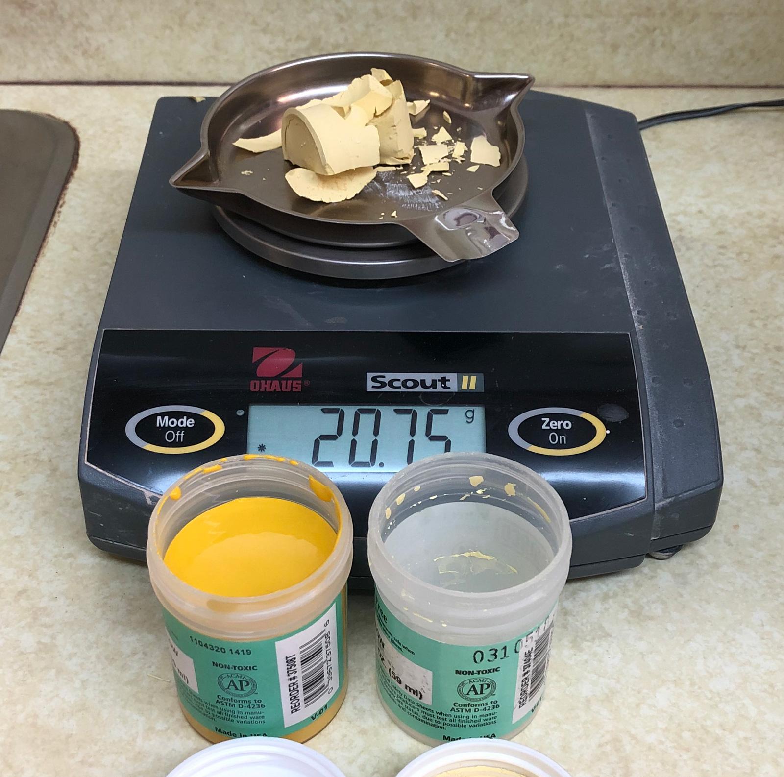 This 2oz jar of underglaze dries down to 21g of powder