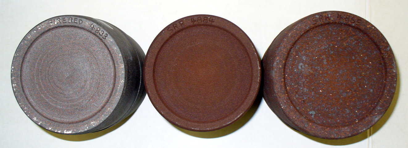 Varying sizes of iron speckle in a high-iron reduction stoneware clay
