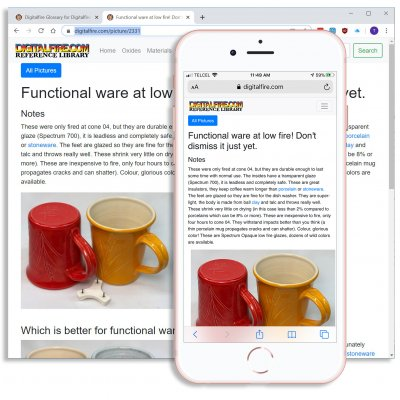 The Digitalfire Reference Library on desktop and smartphone