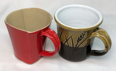 By hand-building your mugs you can cut the weight in half!
