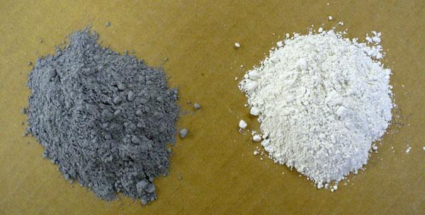 Texas talc (left) and Montana talc (right)