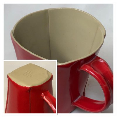 A hand-built mug made from 100% of a naturally occurring porcelain