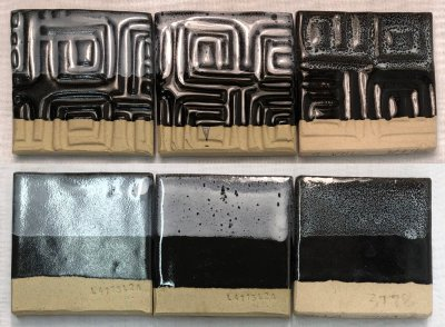 Cone 6 glazed tiles of white-on-black oil spot glazes