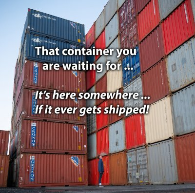 Shipping containers piled high