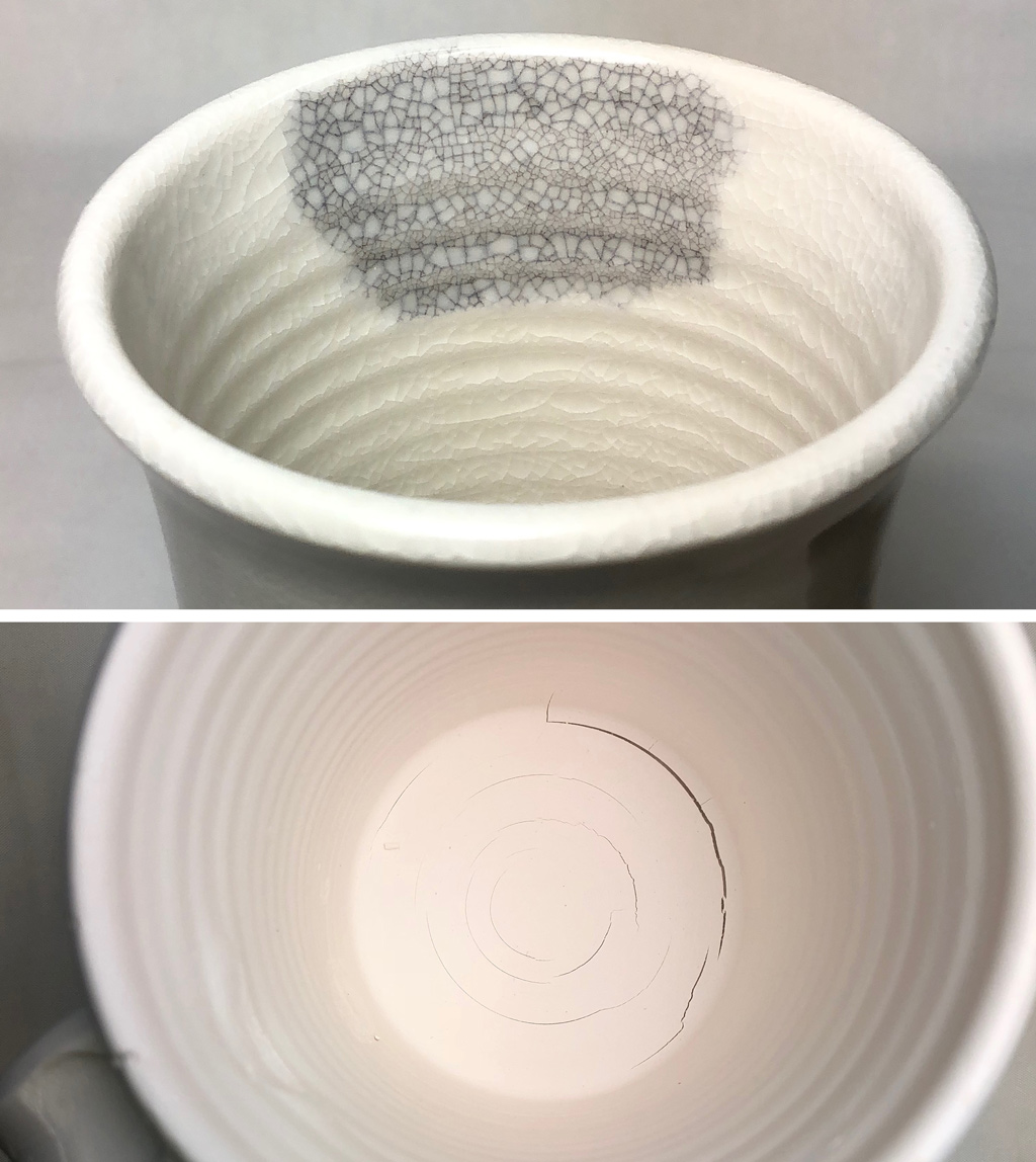 A porcelain cup with serious crazing and base crack concentric to the center