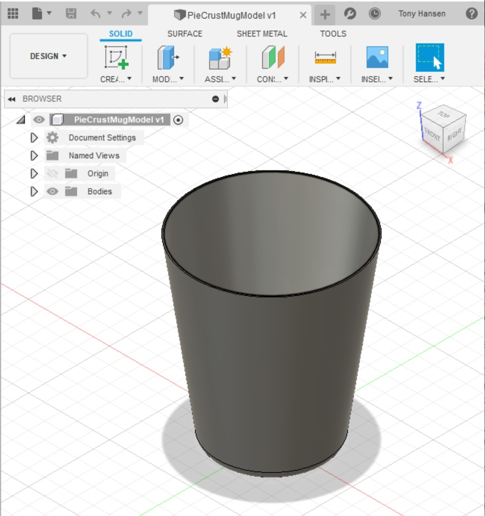 3D rendering in Fusion 360 of the mug body shape