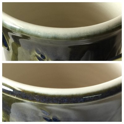 A fluid melt glaze bleeds much more into adjoining ones