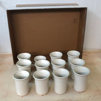 Freshly thrown porcelain mugs placed on a plaster table and being covered by a wax-lined box