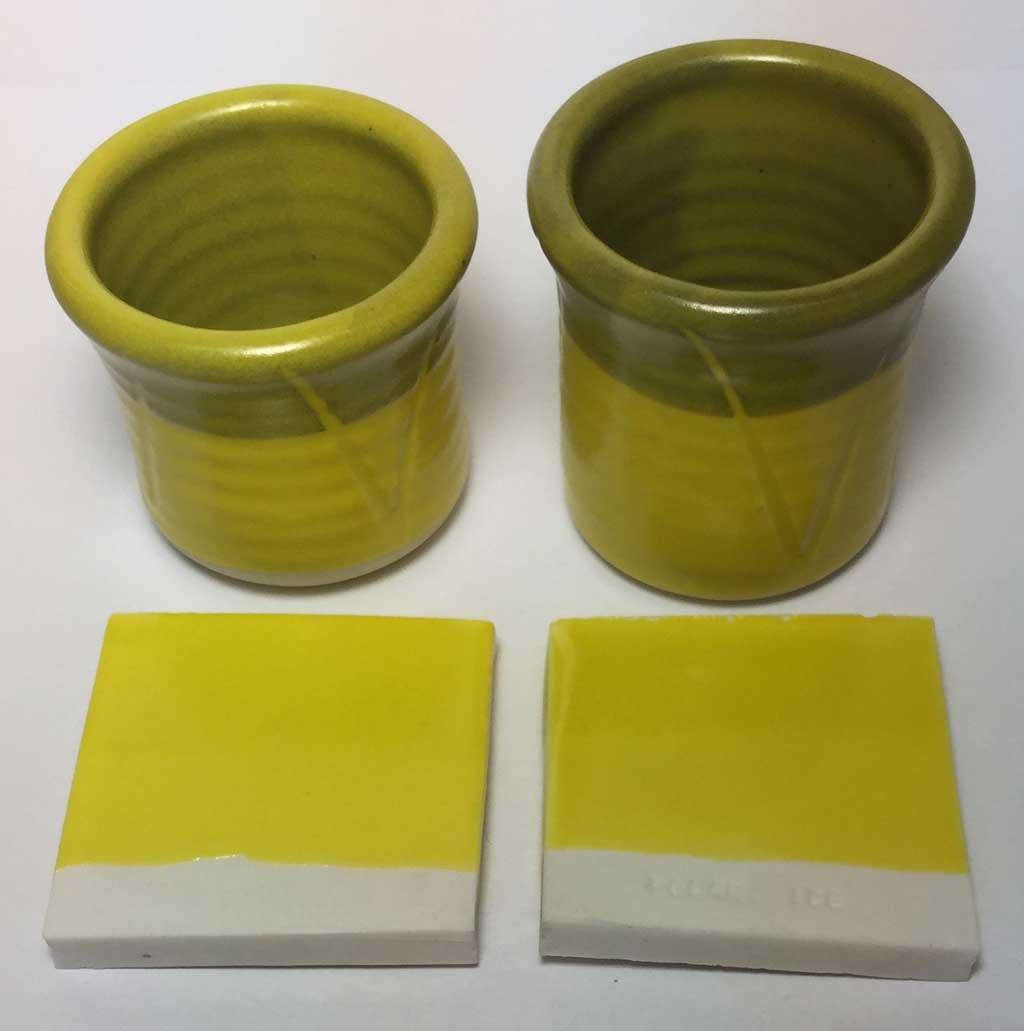 G2934 vs. G2934Y cone 6 yellow mattes