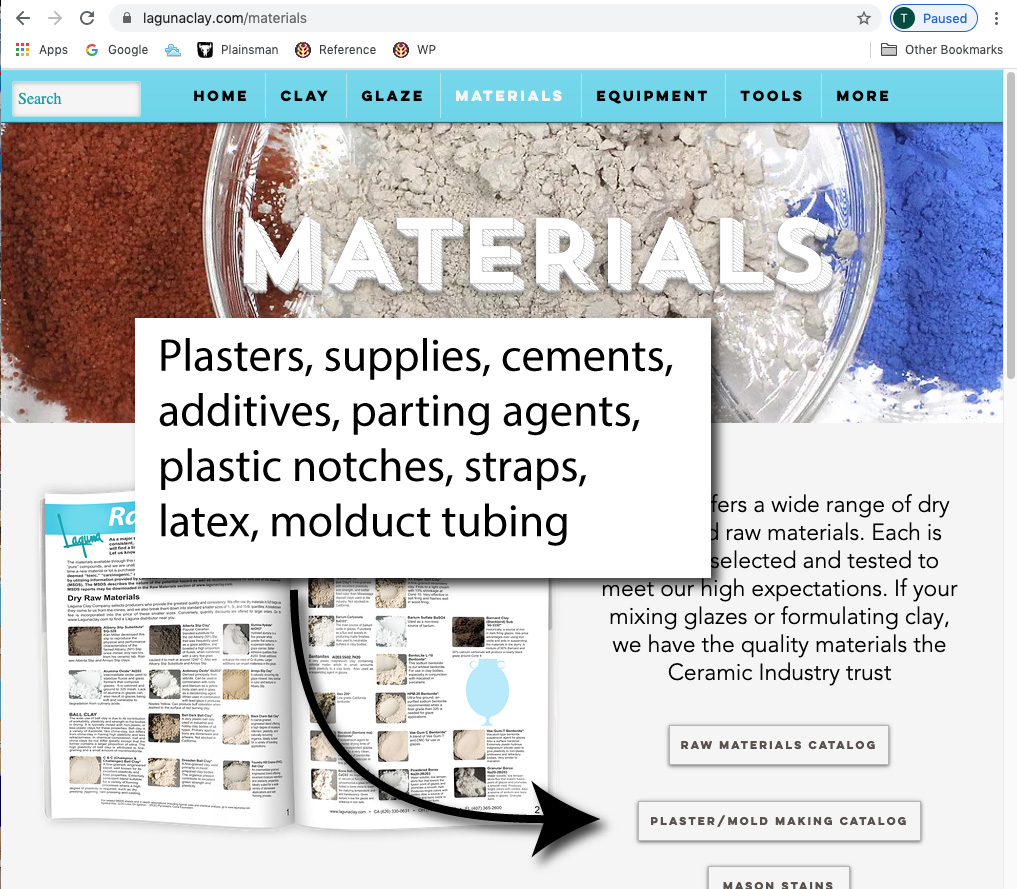 Screenshot of Laguna clays plaster products page