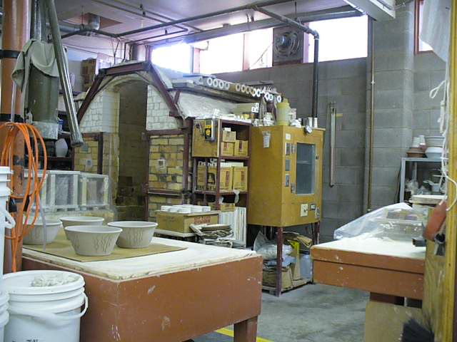 Another view of the gas kiln in the Plainsman clay studio