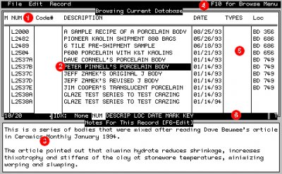 The browse window in DOS Foresight