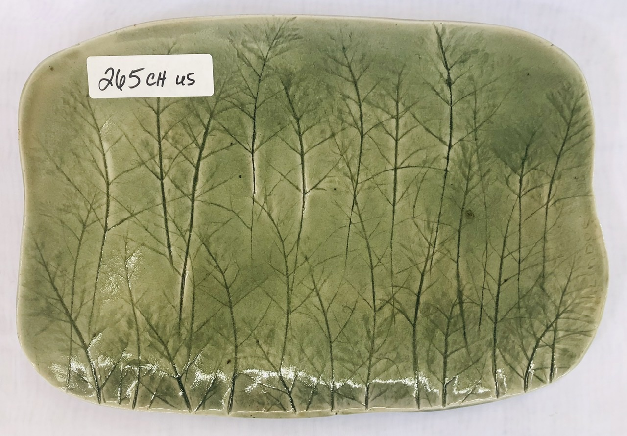 Celadon slab plate by by Luke Lindoe