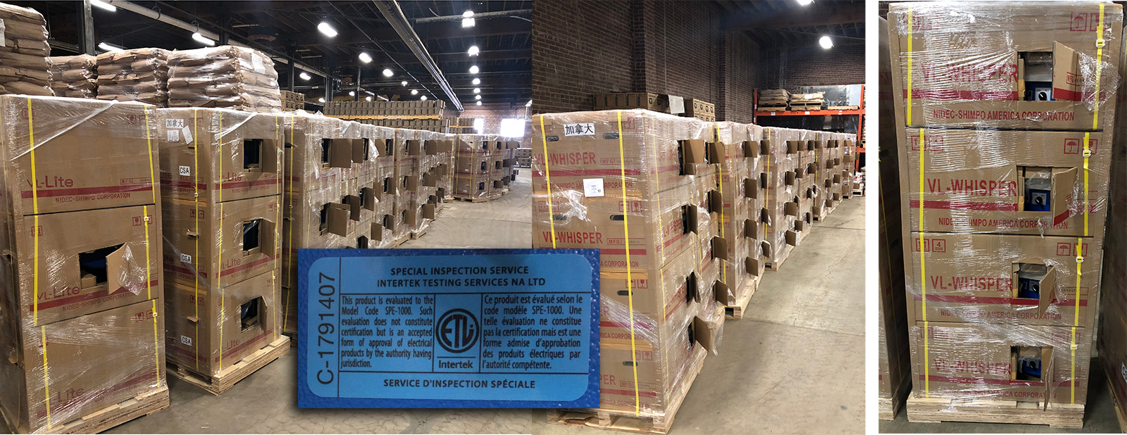 Crates of potter's wheels waiting in our main warehouse
