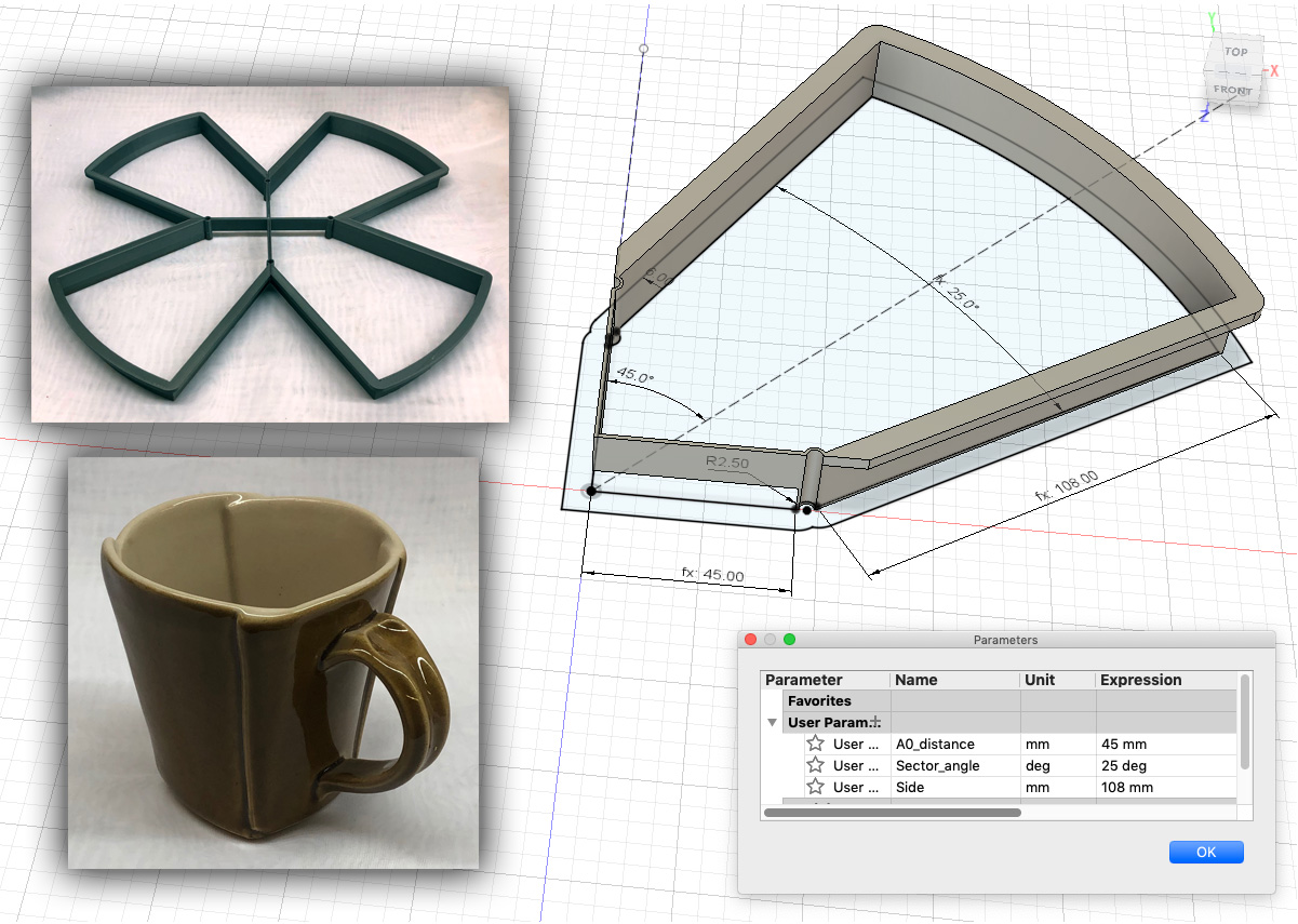 A 3D printed cookie cutter showing parametric measurements, four of these are glued together