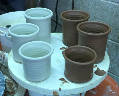 Low fire red and white stoneware getting closer
