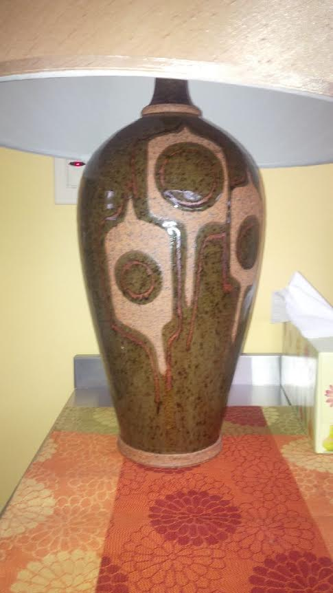 1980s large reduction fired lampbase by Tony Hansen