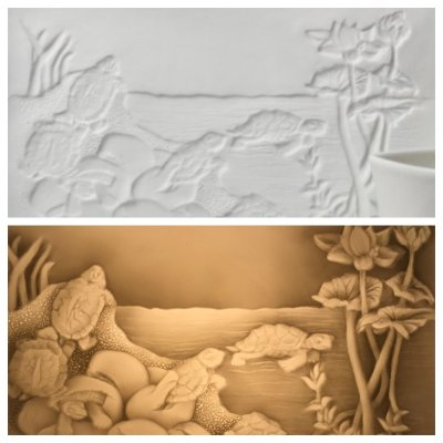 A Lithophane exploits porcleain translucency to reveal its design