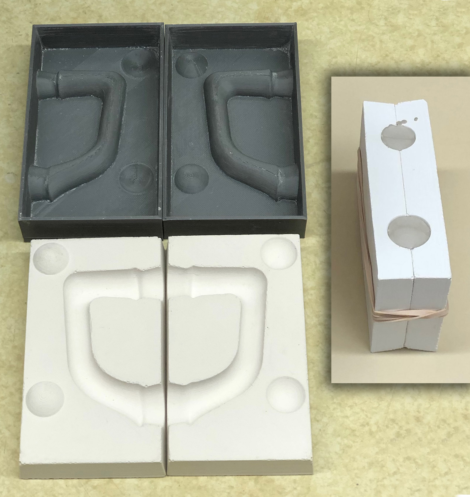 3D-Printed master mold, handle mold made in it, first cast