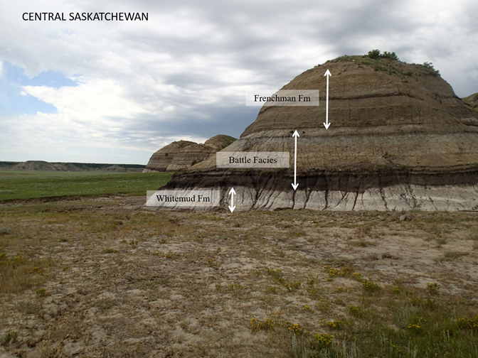 Layers of sedimentary clay exposed in a hill at Big Muddy, Saskatchewan