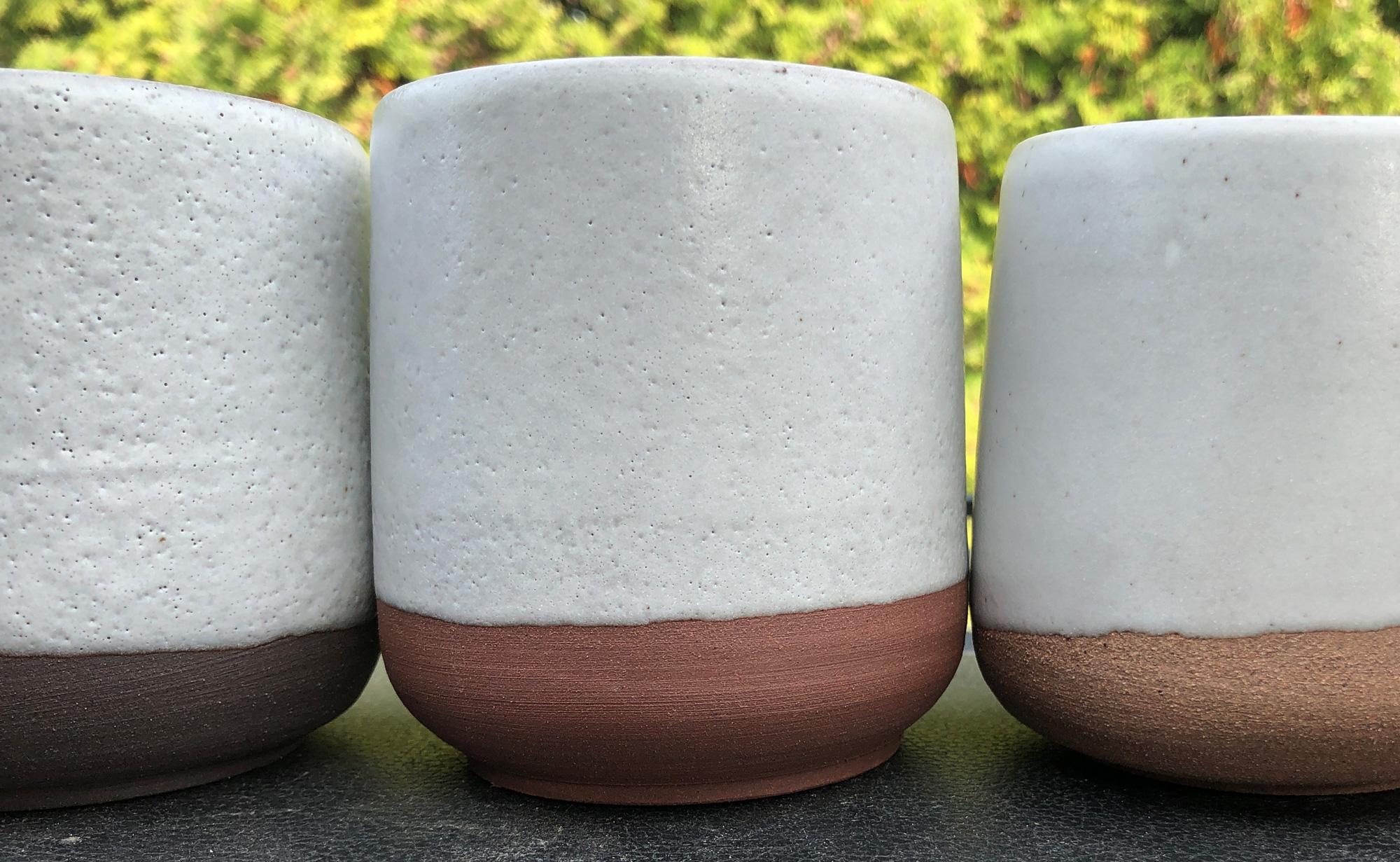 Example of pinholes on three cone 6 clay bodies
