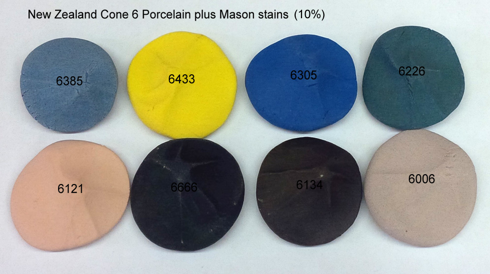 Multi-colored porcelain chips (blue, yellow, green, brown, black, pink)
