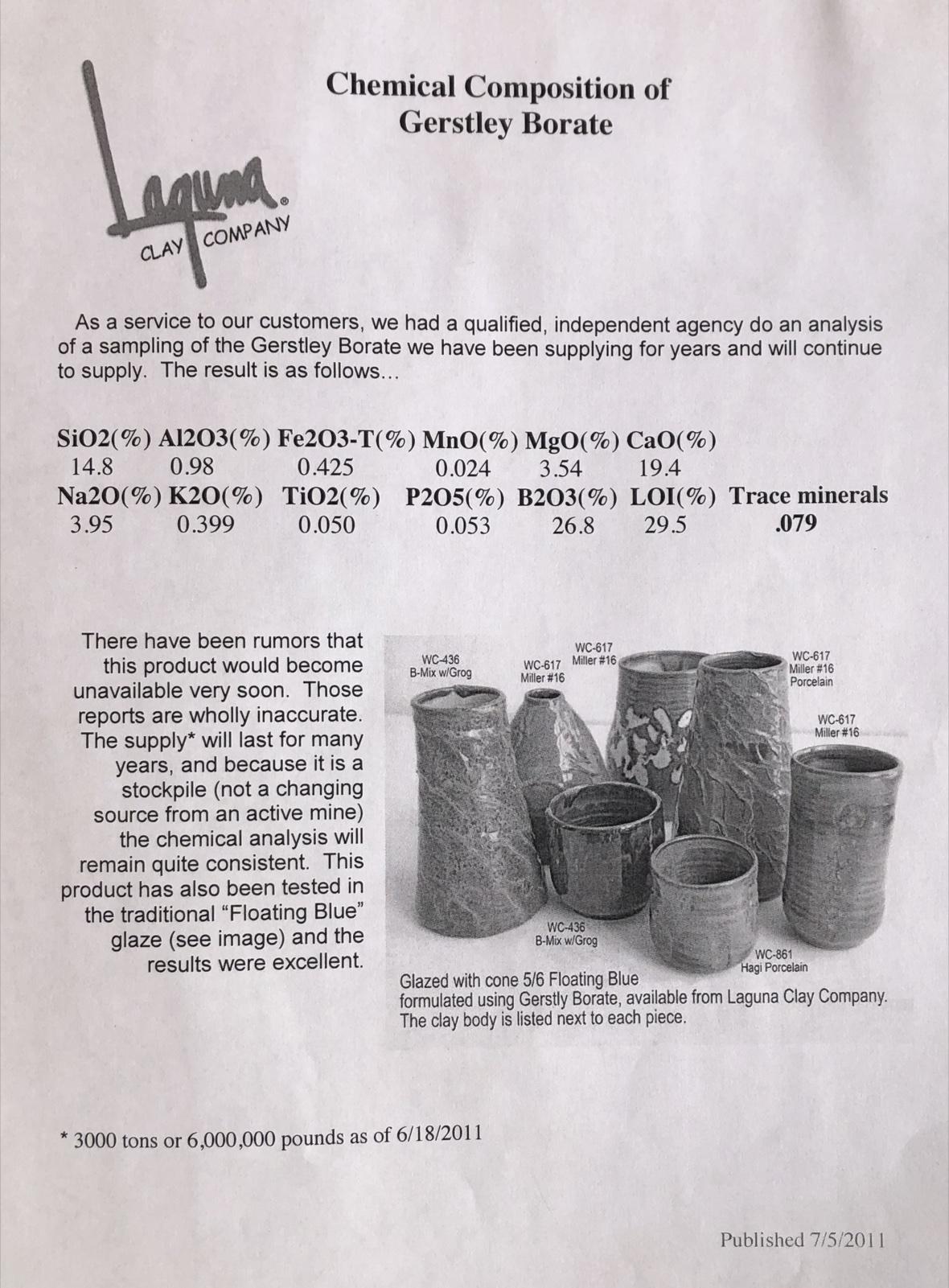Gerstley Borate official composition page from Laguna Clay