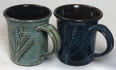 Two rutile blue cone 6 mugs