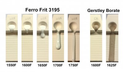 Melt flow tests showing the a frit melting from 1550-1750F, Gerstley Borate from 1600-1625F.