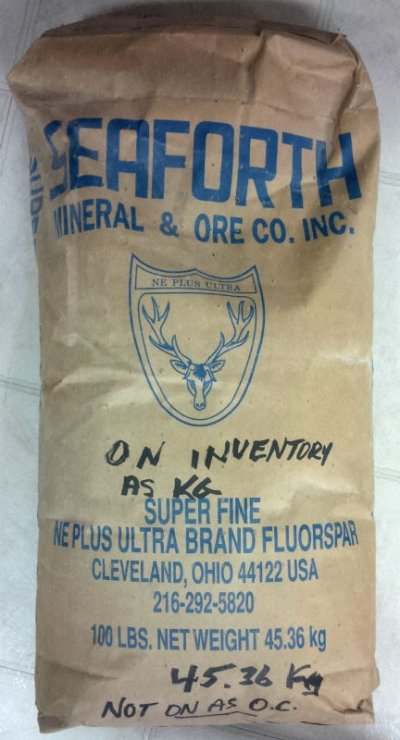 An original bag of Fluorspar