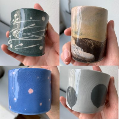 Four cast porcelain mugs with four different commercial glazes. All crazed!