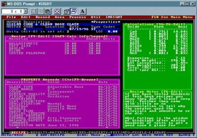 The Recipe area in DOS Foresight