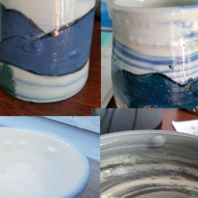 Four pottery pieces with bubbles and bloating