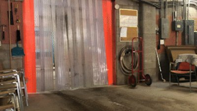 Fork lift zoom in, out and through the warehouse