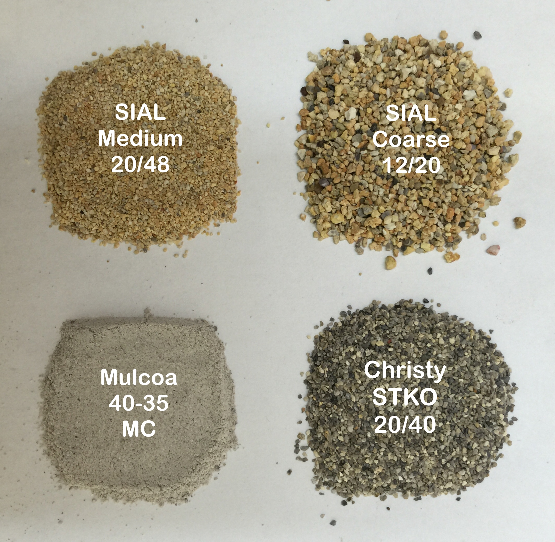 Four types of aggregate used at Plainsman Clays