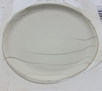 A leather hard plate cracked in the plastic mold