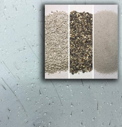 Closeups of three grogs and the texture they produce in the porcelain