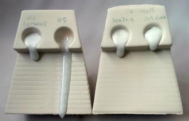 Melt fluidity: Cornwall Stone vs. Nepheline Syenite