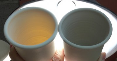 Why is that high fire porcelain on the left so much more translucent?