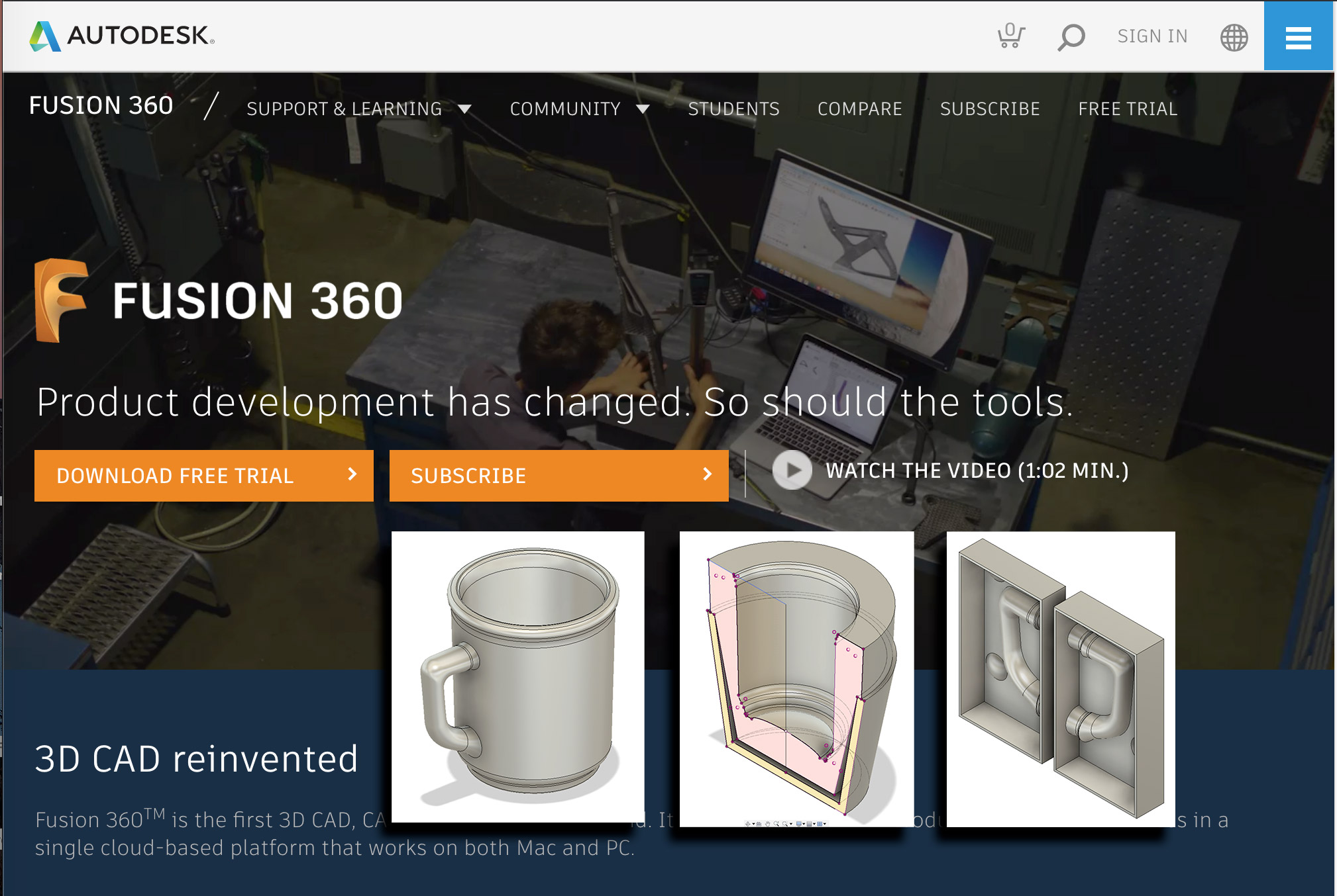 AutoDesk Fusion 360 home page