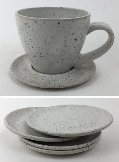White manganese speckled cone 6 cup and saucer